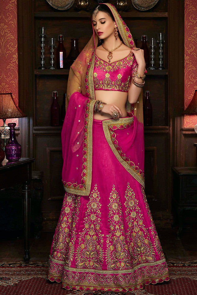 Indi Fashion Magenta and Gold Art Silk Wedding Lehenga Set