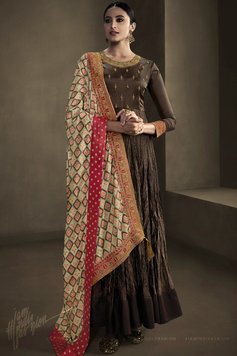Chocolate Brown Silk Satin Georgette Anarkali Suit