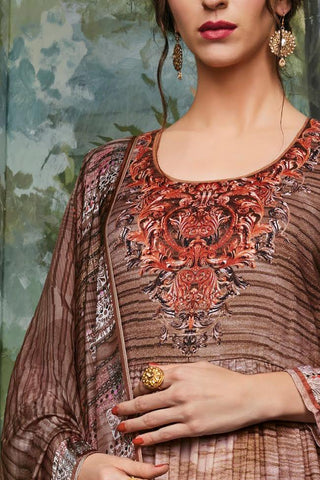 Indi Fashion Brown Pashmina Straight Suit