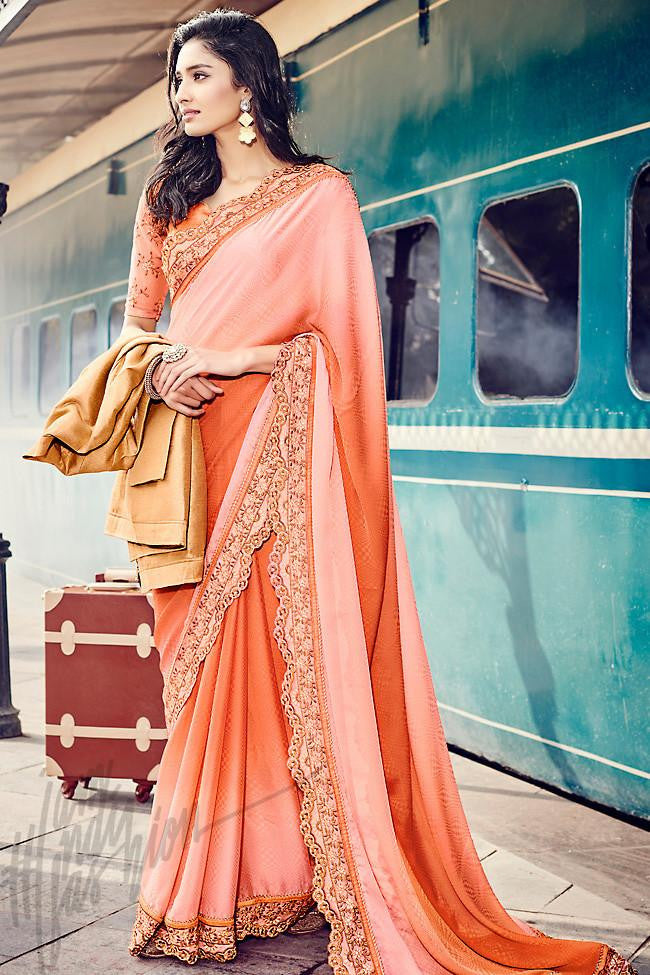 Indi Fashion Shaded Peach Jacquard and Dupion Silk Saree