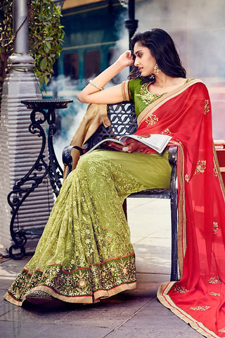 Indi Fashion Red and Green half and Half Georgette and Dupion Silk Saree