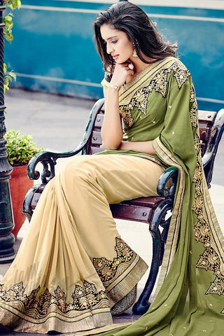 Indi Fashion Olive Green and Beige Half and Half Georgette and Dupion Silk Saree