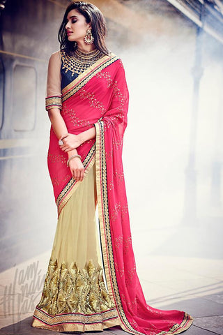 Indi Fashion Pink and Beige Half and Half Georgette and Dupion Silk Saree