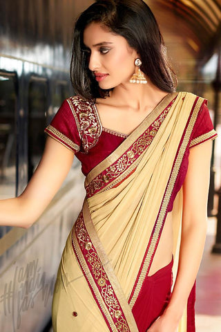 Indi Fashion Red and Cream Half and Half Chiffon and Dupion Silk Saree