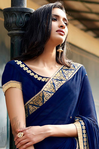Indi Fashion Navy Blue and Mustard Yellow Half and Half Georgette and Crepe Saree