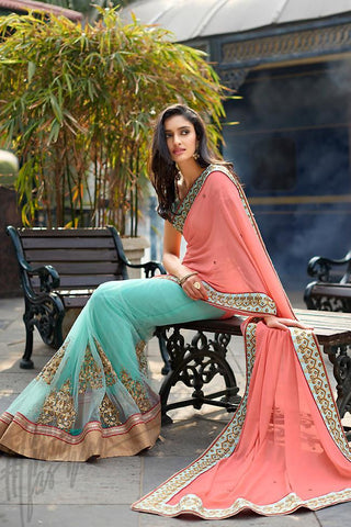 Indi Fashion Peach and Sky Blue Half and Half Georgette and Dupion Silk Saree