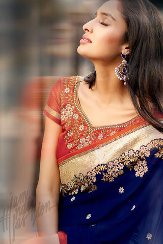 Indi Fashion Blue and Rust Half and Half Georgette and Dupion Silk Saree