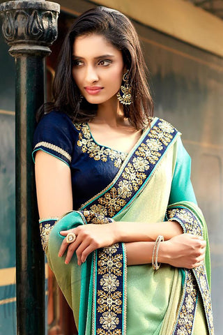 Indi Fashion Shaded Blue Yellow and Green Jacquard and Dupion Silk Saree