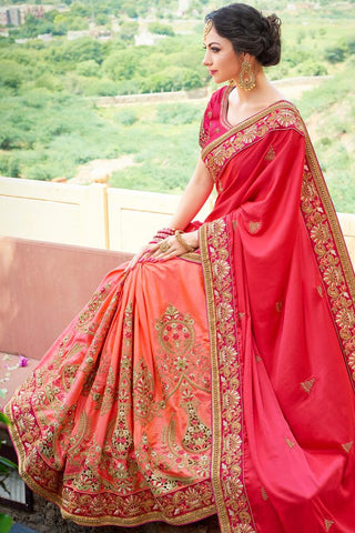Indi Fashion Red and Peach Half and Half Art Silk Saree