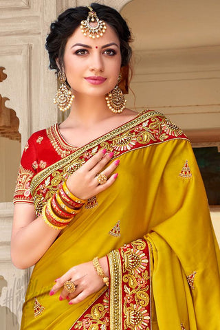 Indi Fashion Mustard Yellow and Navy Blue Half and Half Art Silk Saree