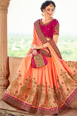 Indi Fashion Peach and Pink Art Silk Saree