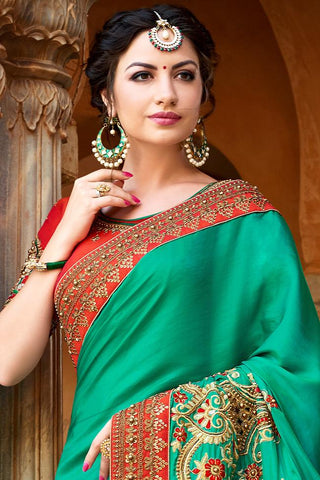Indi Fashion Sae Green and Red Art Silk Saree