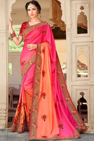 Indi Fashion Pink and Peach Dual Tone Art Silk Saree