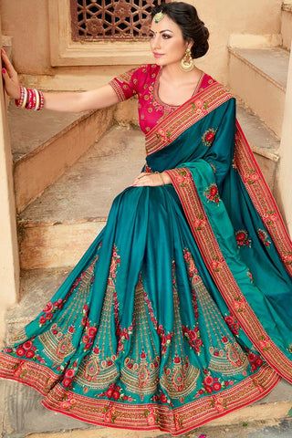 Indi Fashion Blue and Pink Art Silk Saree