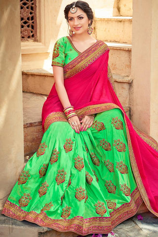 Indi Fashion Pink and Green Half and Half Art Silk Saree