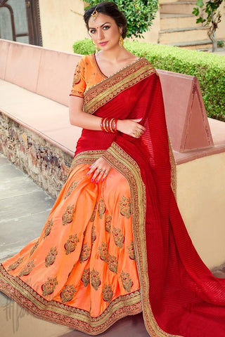 Indi Fashion Red and Orange Half and Half Art Silk Saree