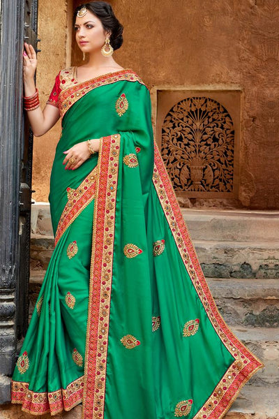 Indi Fashion Green and Red Art Silk Saree