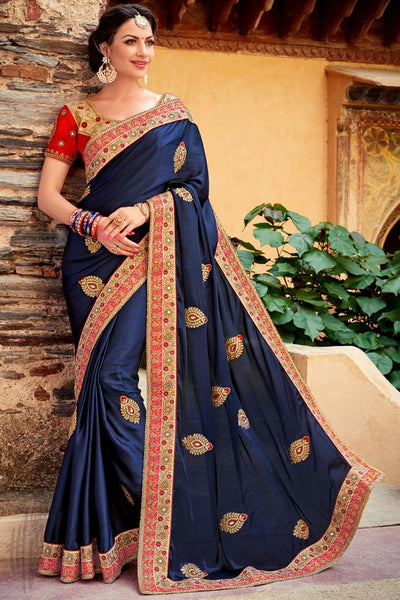 Indi Fashion Navy Blue and Red Art Silk Saree