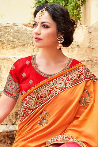 Indi Fashion Orange and Pink Half and Half Art Silk Saree