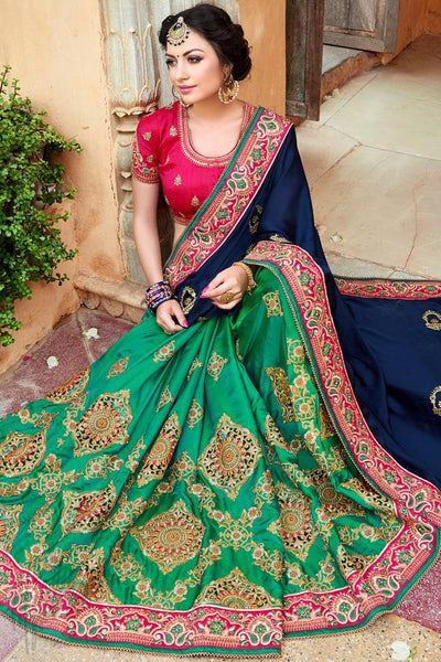 Indi Fashion Navy Blue and Green Half and Half Art Silk Saree