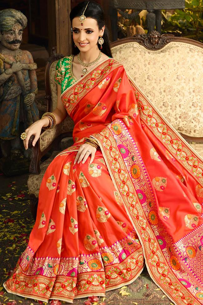 Indi Fashion Red and Green Banarasi Silk Party Wear Saree