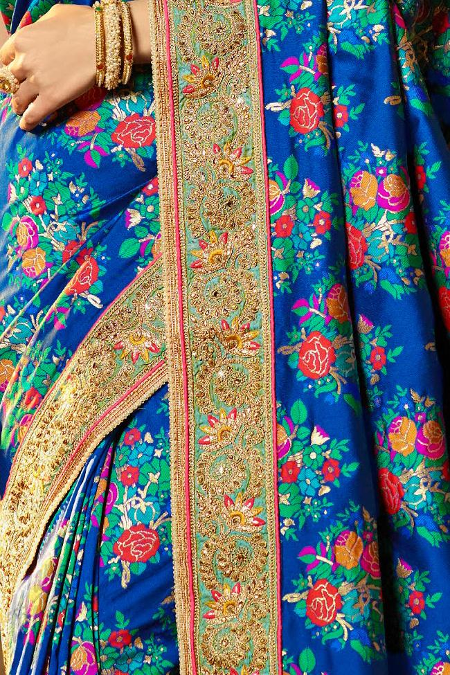 Indi Fashion Royal Blue Banarasi Silk Party Wear Saree