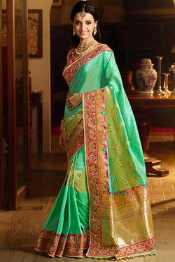 Indi Fashion Green and Pink Banarasi Silk Party Wear Saree