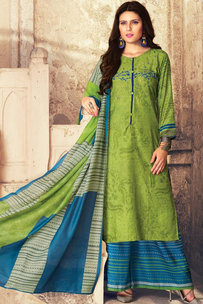 Indi Fashion Parrot Green and Blue Lawn Cotton Palazzo Suit