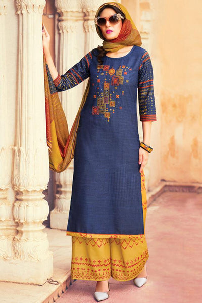 Indi Fashion Blue and Yellow Lawn Cotton Palazzo Suit