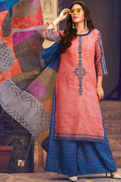 Indi Fashion Peach and Blue Lawn Cotton Palazzo Suit