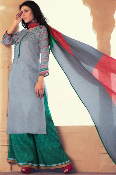 Indi Fashion Gray and Green Lawn Cotton Palazzo Suit