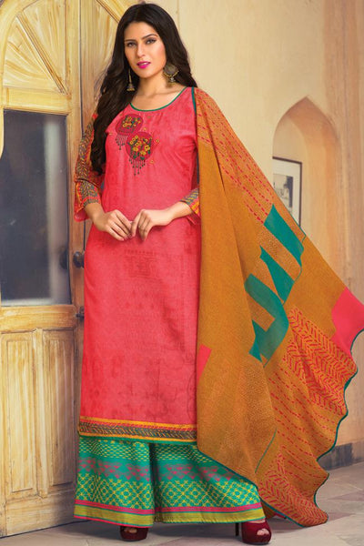 Indi Fashion Pink and Green Lawn Cotton Palazzo Suit