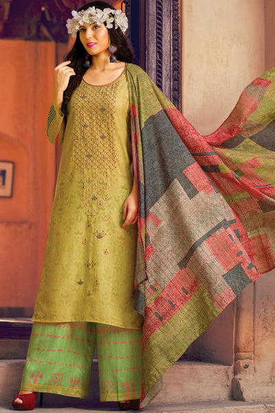 Indi Fashion Olive Green Lawn Cotton Palazzo Suit