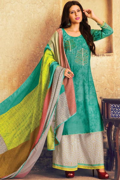 Indi Fashion Sea Green and White Lawn Cotton Palazzo Suit