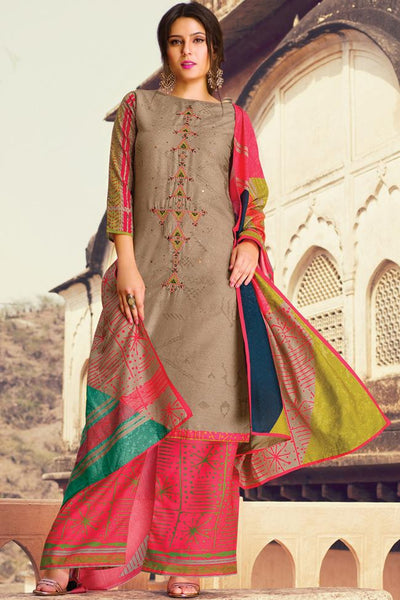 Indi Fashion Brown and Pink Lawn Cotton Palazzo Suit