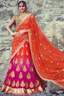 Indi Fashion Orand and Rani Net Three Piece Bridal Lehenga Set