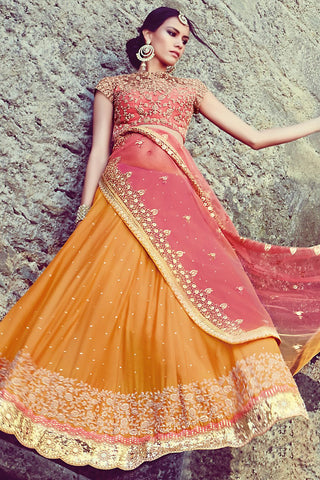 Indi Fashion Mustard and Pink Georgette Three Piece Bridal Lehenga Set