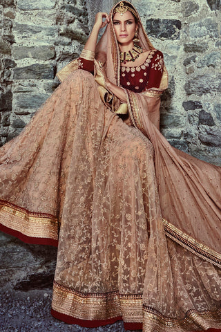 Indi Fashion Brown and Maroon Net Three Piece Bridal Lehenga Set