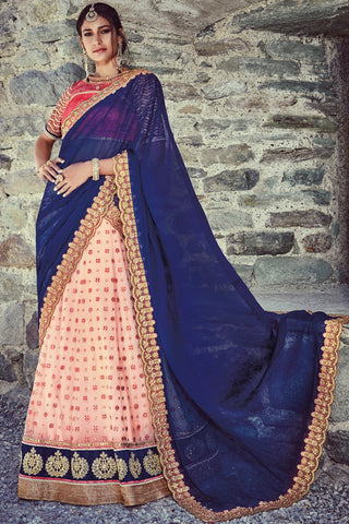 Indi Fashion Blue and Pink Net Three Piece Bridal Lehenga Set