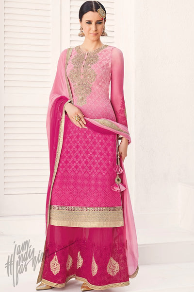 Indi Fashion Shaded Pink and Magenta Georgette Party Wear Palazzo Suit