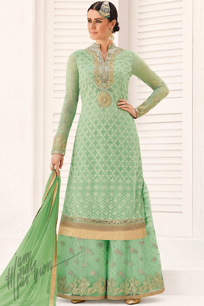 Indi Fashion Pastel Green Georgette Party Wear Palazzo Suit