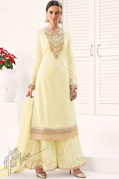 Indi Fashion Cream Georgette Party Wear Palazzo Suit