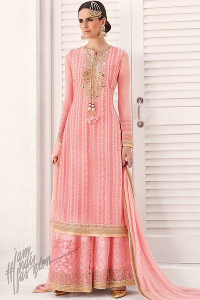 Indi Fashion Baby Pink Georgette Party Wear Palazzo Suit