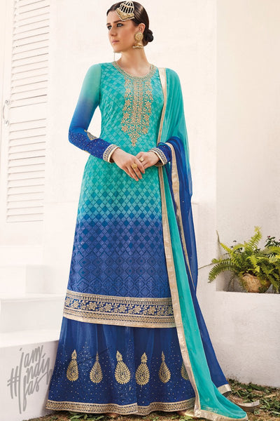 Indi Fashion Shaded Blue Georgette Party Wear Palazzo Suit