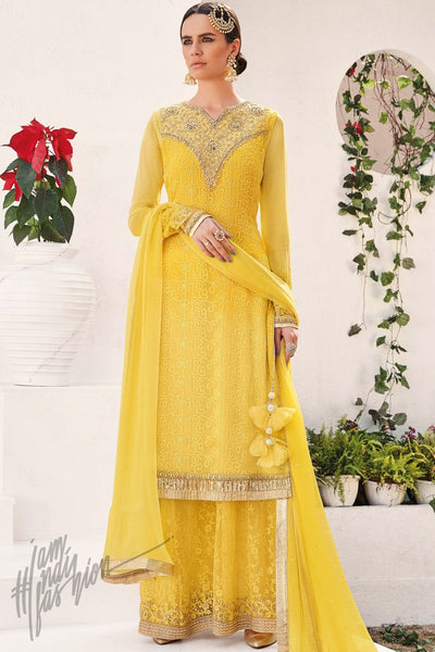 Indi Fashion Sunflower Yellow Georgette Party Wear Palazzo Suit