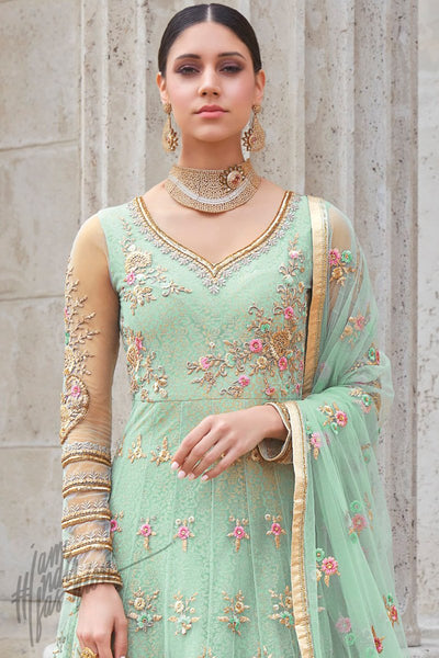 Indi Fashion Pastel Green Premium Net Wedding and Party Anarkali Suit