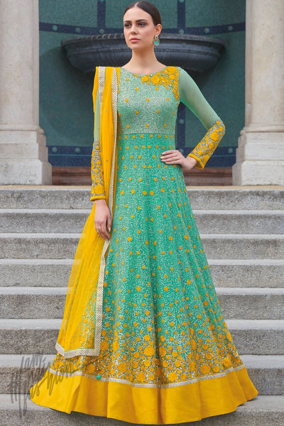 Indi Fashion Green and Yellow Premium Net Wedding and Party Wear Anarkali Suit