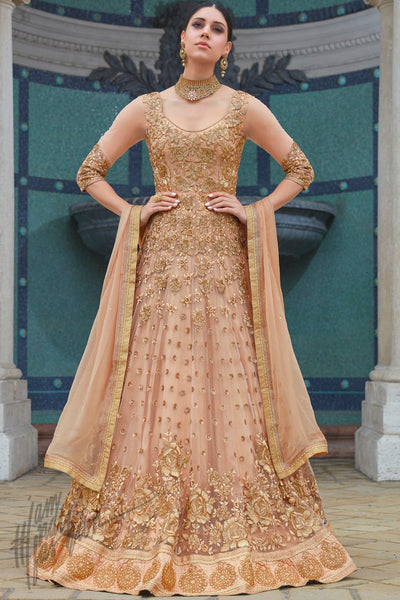 Indi Fashion Brown and Gold Premium Net Wedding and Party Wear Anarkali Suit