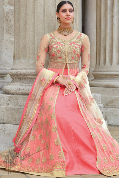 Indi Fashion Cream and Peach Premium Net Wedding and Party Wear Lehenga Style Suit