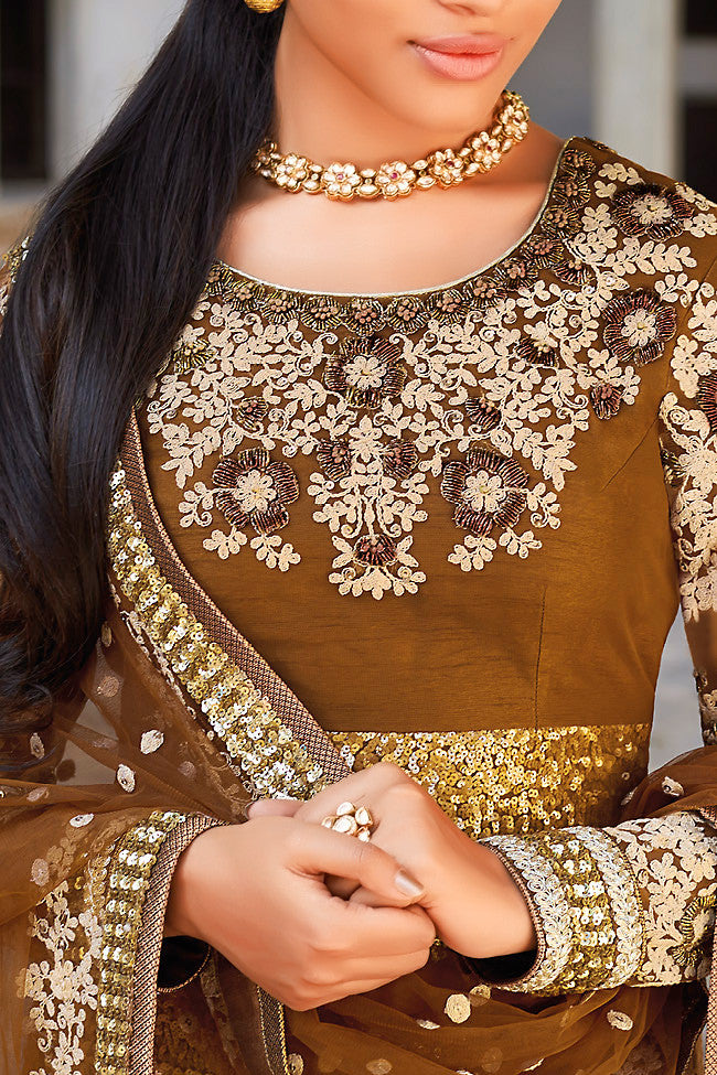 Indi Fashion Golden Brown Straight Cut Style Suit